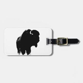 Black & White Pop Art Bison Buffalo Luggage Tag