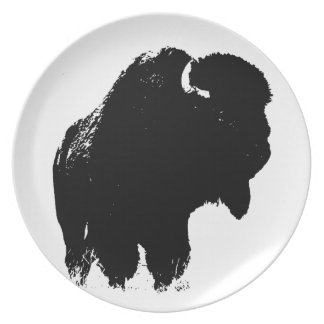 Black & White Pop Art Bison Buffalo Plate
