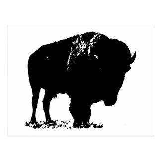 Black & White Pop Art Bison Buffalo Postcard