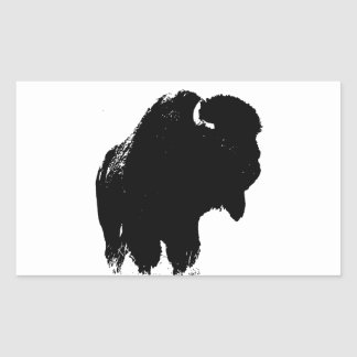 Black & White Pop Art Bison Buffalo Rectangular Sticker