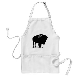 Black & White Pop Art Bison Buffalo Standard Apron