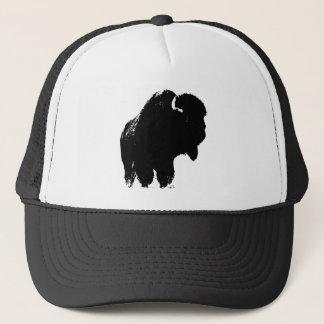 Black & White Pop Art Bison Buffalo Trucker Hat
