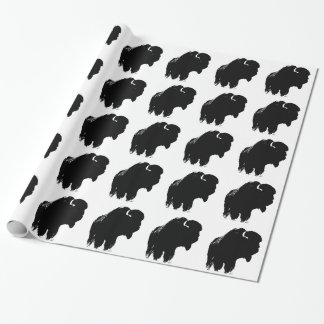 Black & White Pop Art Bison Buffalo Wrapping Paper