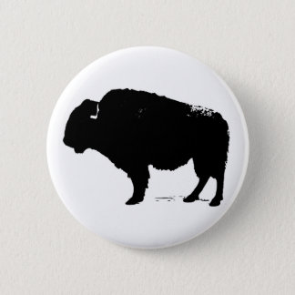 Black & White Pop Art Buffalo Bison 6 Cm Round Badge