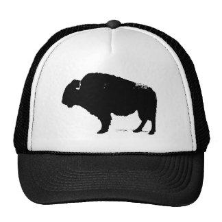 Black & White Pop Art Buffalo Bison Cap
