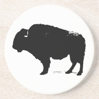 Black & White Pop Art Buffalo Bison Coaster
