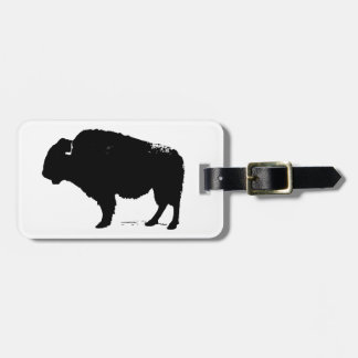 Black & White Pop Art Buffalo Bison Luggage Tag