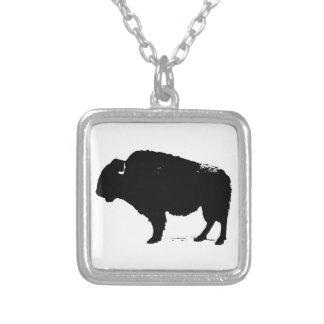 Black & White Pop Art Buffalo Bison Silver Plated Necklace