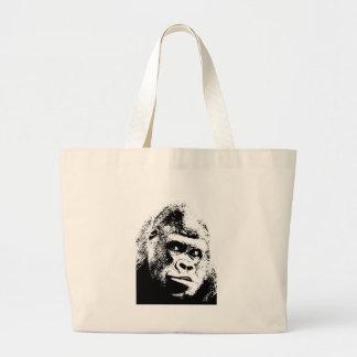 Black White Pop Art Gorilla Jumbo Tote Bag