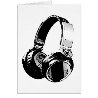 Black & White Pop Art Headphone Greeting Card