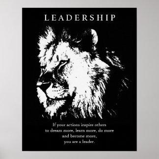 Black White Pop Art Leadership Lion Poster