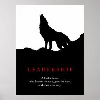 Black White Pop Art Leadership Wolf Poster