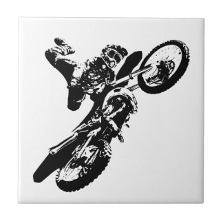 Black White Pop Art Motocross Motorcyle Sport Ceramic Tile