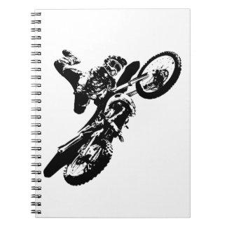 Black White Pop Art Motocross Motorcyle Sport Notebooks