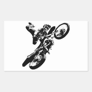 Black White Pop Art Motocross Motorcyle Sport Rectangular Sticker