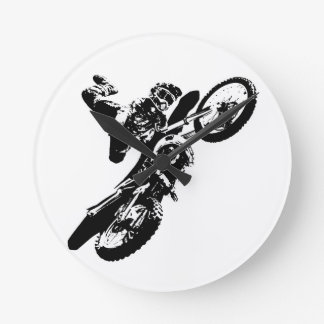 Black White Pop Art Motocross Motorcyle Sport Round Clock