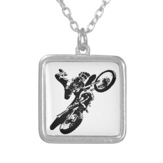 Black White Pop Art Motocross Motorcyle Sport Silver Plated Necklace