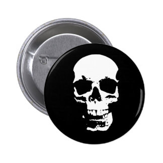 Black & White Pop Art Skull 6 Cm Round Badge
