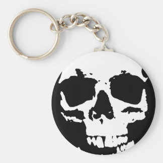Black & White Pop Art Skull Stylish Cool Key Ring