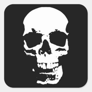 Black & White Pop Art Skull Stylish Cool Square Sticker