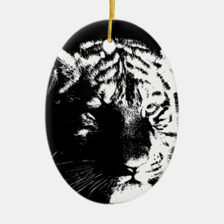 Black & White Pop Art Tiger Ceramic Ornament