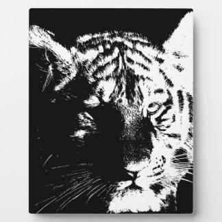 Black & White Pop Art Tiger Plaque