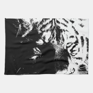 Black & White Pop Art Tiger Tea Towel