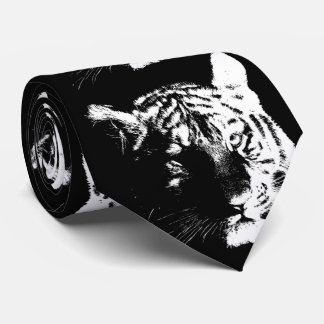 Black & White Pop Art Tiger Tie