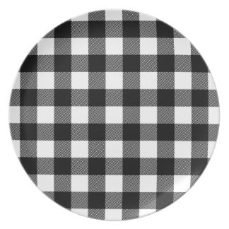 Black & White Preppy Buffalo Check Plaid Plate