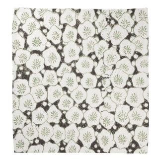Black White Print Art Floral  Asian Japanese Bandana