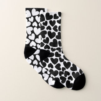 Black & White Puffy Hearts Mix Match Socks 1