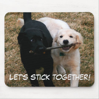 """Black & white puppies """"stick together"""" mouse pad"""