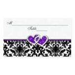 Black, White, Purple Damask Hearts Place Card Pack Of Standard Business Cards