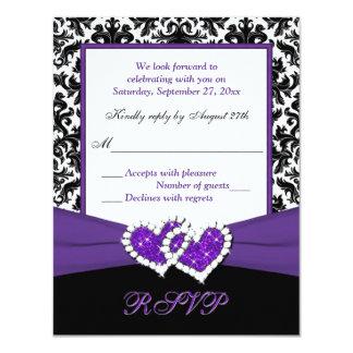 Black, White, Purple Damask & Hearts Reply Card 11 Cm X 14 Cm Invitation Card