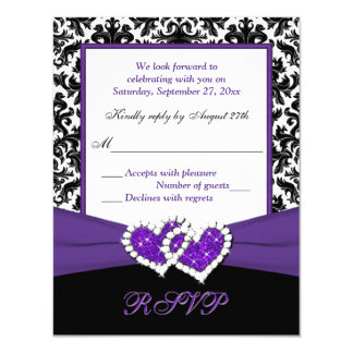 Black, White, Purple Damask & Hearts Reply Card 11 Cm X 14 Cm Invitation Card