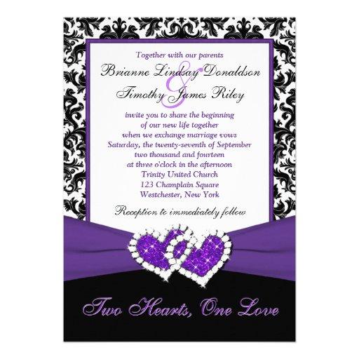 Dark Purple Wedding Invitations: Black White Purple Damask Hearts Wedding Invite 13 Cm X 18