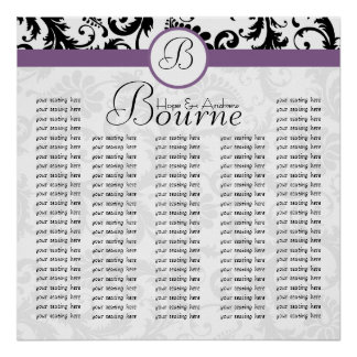 Black White Purple Damask Reception Seating Chart Poster