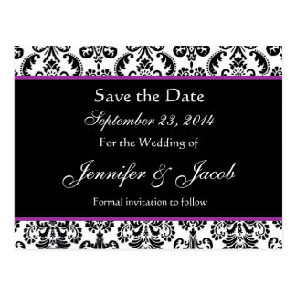 Black White Purple Damask Save Date Postcard