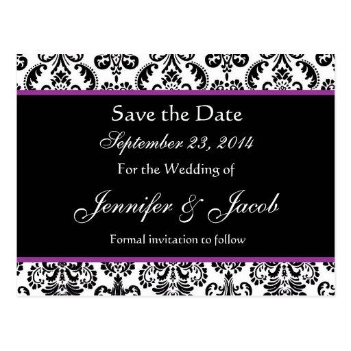 Black White Purple Damask Save Date Postcard