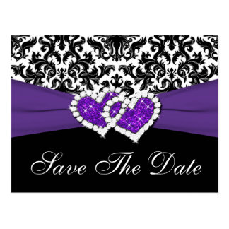 Black, White, Purple Damask Save the Date Postcard