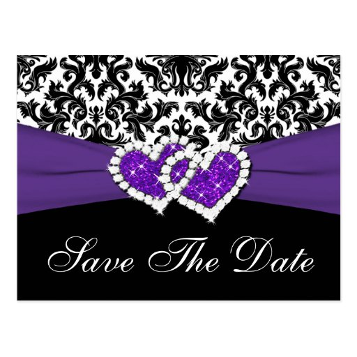 Black, White, Purple Damask Save the Date Postcard