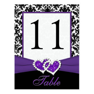 Black, White, Purple Damask Table Number Post Card