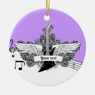 Black white purple electric guitar with wings round ceramic decoration