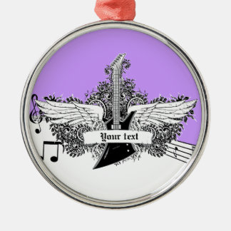 Black white purple electric guitar with wings Silver-Colored round decoration
