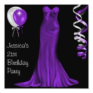 Black  White Purple Formal Dress 21st Birthday 13 Cm X 13 Cm Square Invitation Card