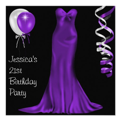 Black  White Purple Formal Dress 21st Birthday Personalized Invitations