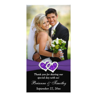 Black White Purple Joined Hearts Wedding Photocard Personalised Photo Card