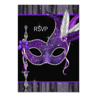 Black White Purple Masquerade Party RSVP Card