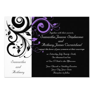 Black White Purple Swirl Wedding Invitations
