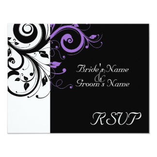 Black +White Purple Swirl Wedding Matching RSVP 11 Cm X 14 Cm Invitation Card